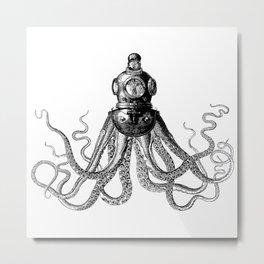 Octopus in Diving Helmet | Deep Sea Divers Helmet | Vintage Octopus | Tentacles | Black and White | Metal Print