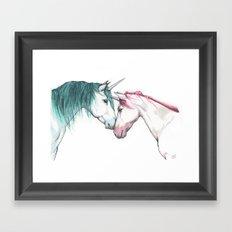 Unicorns in love <3 Framed Art Print
