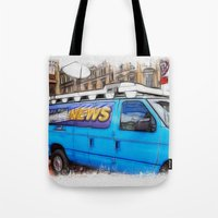 the hound Tote Bags featuring News Hound by Paul & Fe Photography
