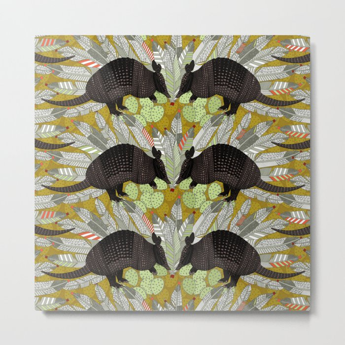native armadillos gold Metal Print