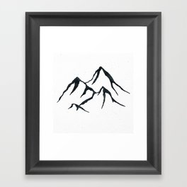 MOUNTAINS Black and White Framed Art Print