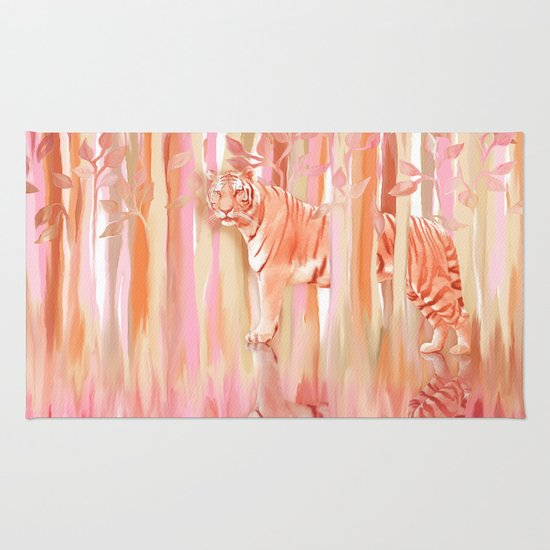 Tiger in the Trees - Painting / Collage Rug