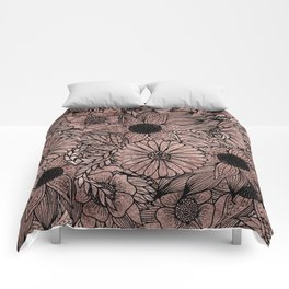 Floral Rose Gold Flowers and Leaves Drawing Black Comforters