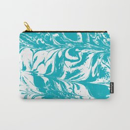 Mio - spilled ink turquoise watercolor marble marbled pattern japanese painting Carry-All Pouch