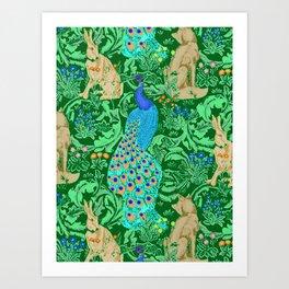 Art Nouveau Peacock Print, Cobalt Blue and Emerald Green Art Print