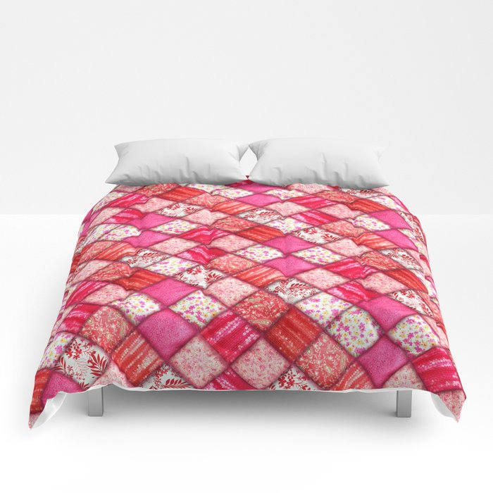Faux Patchwork Quilting - Pink and Red Comforters