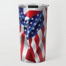 Patriotic American Flag Abstract Art Travel Mug