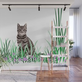 Tiger Cat green Grass with flower Wall Mural