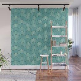 Turquoise Geometric Deco Pattern / Aqua Waves Wall Mural
