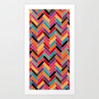 herringbone Art Prints featuring herringbone by Sharon Turner