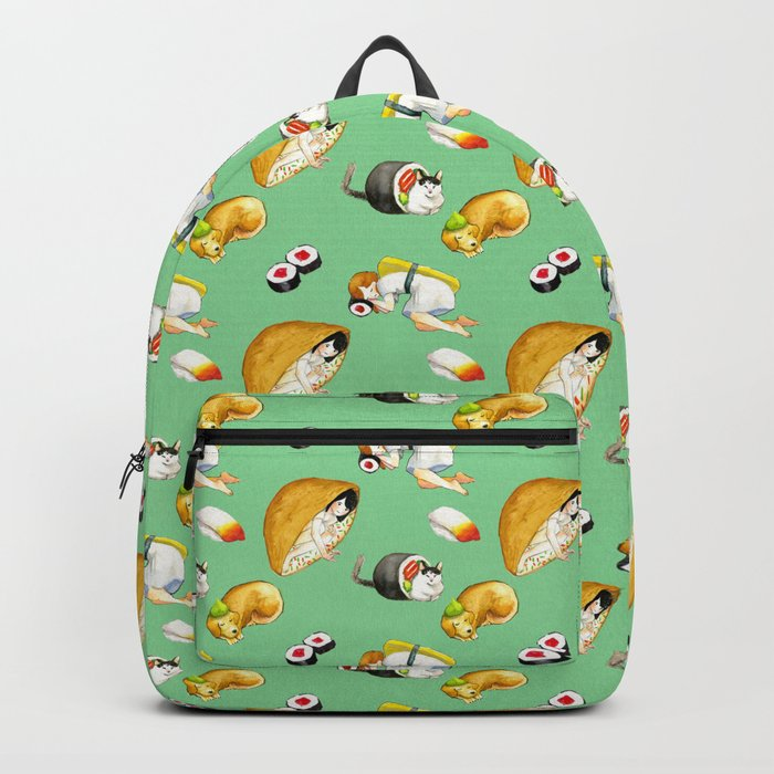 Green Pattern Sushi Girl Backpack
