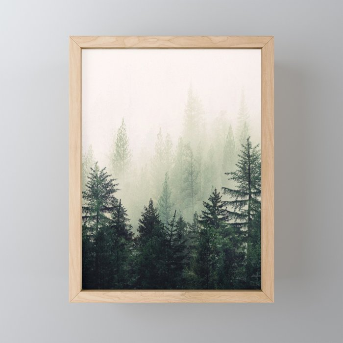 Foggy Pine Trees Framed Mini Art Print