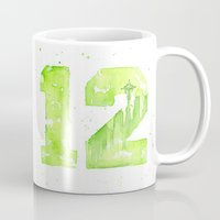 seahawks Mugs featuring 12th Man Seattle Art by Olechka