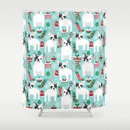 French Bulldog festive holiday pet portrait for frenchie owner pet friendly dog illustration Shower Curtain