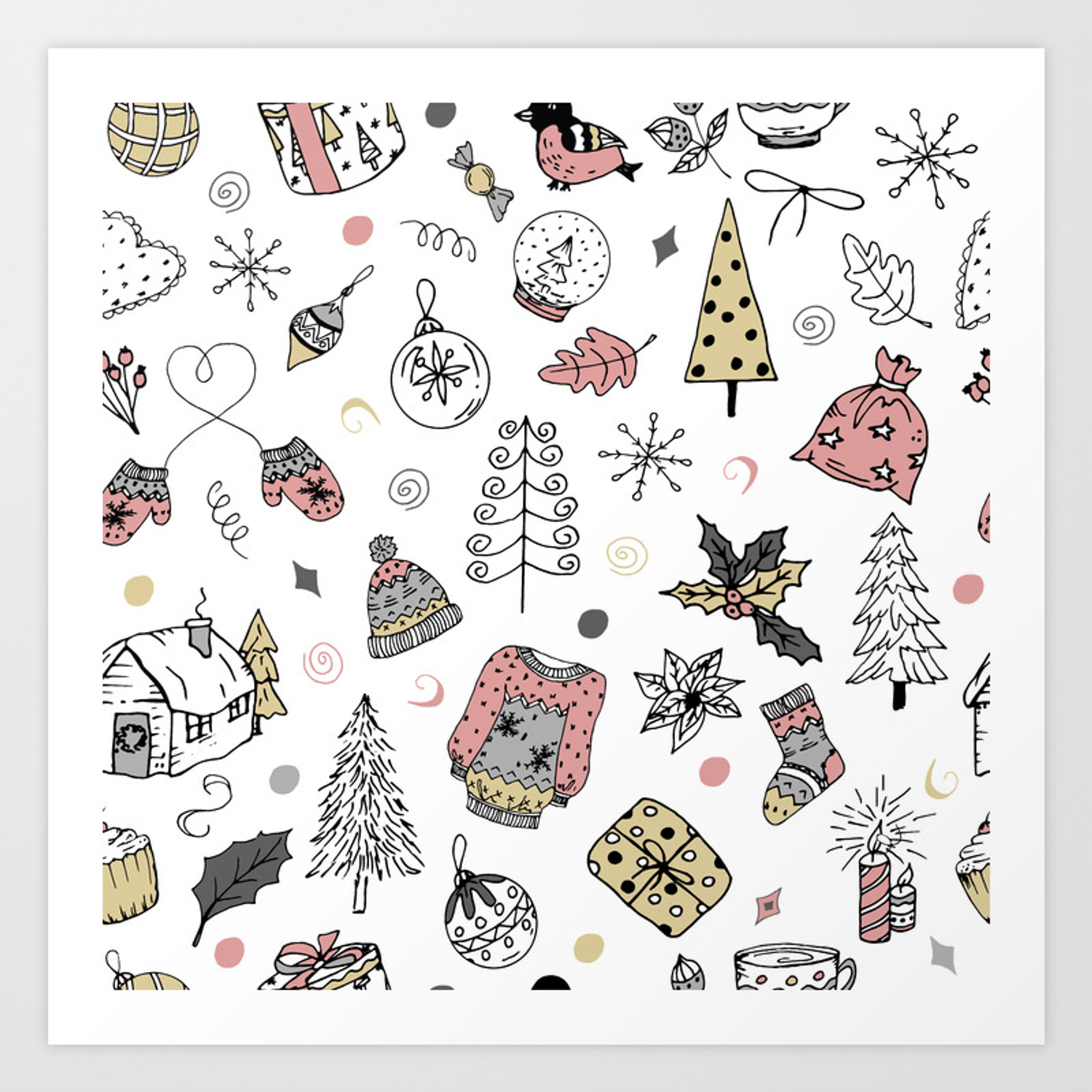 Christmas Pattern Winter Holiday Background Art Print By Alexcrafts Society6