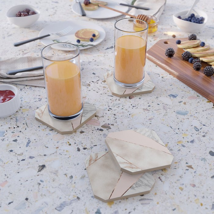 Spliced mixed rose gold marble Coaster