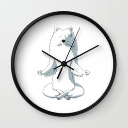 Meditating Japanese Spitz Dog  Wall Clock