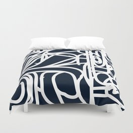 Stained Glass Pattern Black and White Duvet Cover