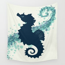 """Seahorse Silhouette"" ` digital illustration by Amber Marine, (Copyright 2015) Wall Tapestry"