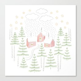 Snowy Winter Forest Village Drawing Canvas Print