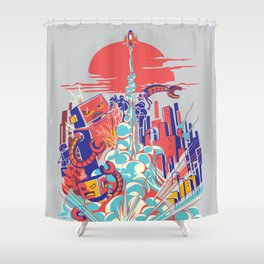 Smash! Zap!! Zooom!! - Generic Spacecraft Shower Curtain