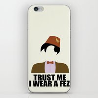 fez iPhone & iPod Skins featuring Trust Me I Wear a Fez by 2hootsdesign