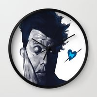 tom waits Wall Clocks featuring Tom Waits - Blue Valentines by Brad Collins Art & Illustration
