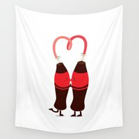 drink Wall Tapestries featuring Love drink by Wai Theng