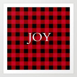 Joy Red Buffalo Check Art Print