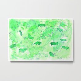 Watercolor Tardigrade Illustration Metal Print