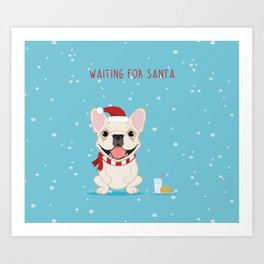 French Bulldog Waiting for Santa - Cream Edition Art Print