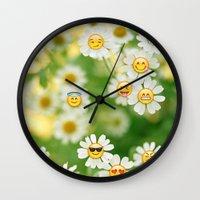 emoji Wall Clocks featuring Emoji Garden by jajoão