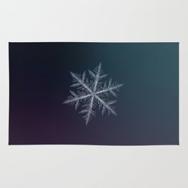 Real snowflake macro photo - Neon Rug
