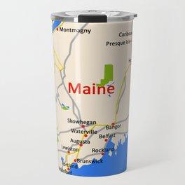 Map of Maine state, USA Travel Mug