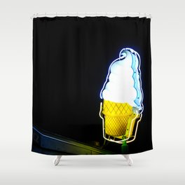 Ice Cream Cone Neon Sign Shower Curtain