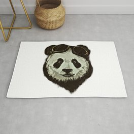 Panda Bear in Hipster Style Rug
