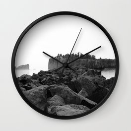 Foggy Harbor North Shore 2 BW Wall Clock