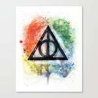 deathly hallows Canvas Prints featuring Deathly Hallows  by Luke Jonathon Fielding