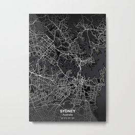 sydney Australia city map black Metal Print