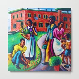 """African American Classical Masterpiece """"The Results of Good Housing"""" by Hale Woodruff Metal Print"""
