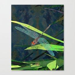 Green Dragonfly Pond Illustration | Watercolor Dragonfly Art Print | Modern Garden Wall Art Canvas Print