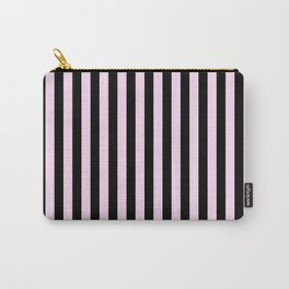 Pink Lace Pink and Black Vertical Stripes Carry-All Pouch