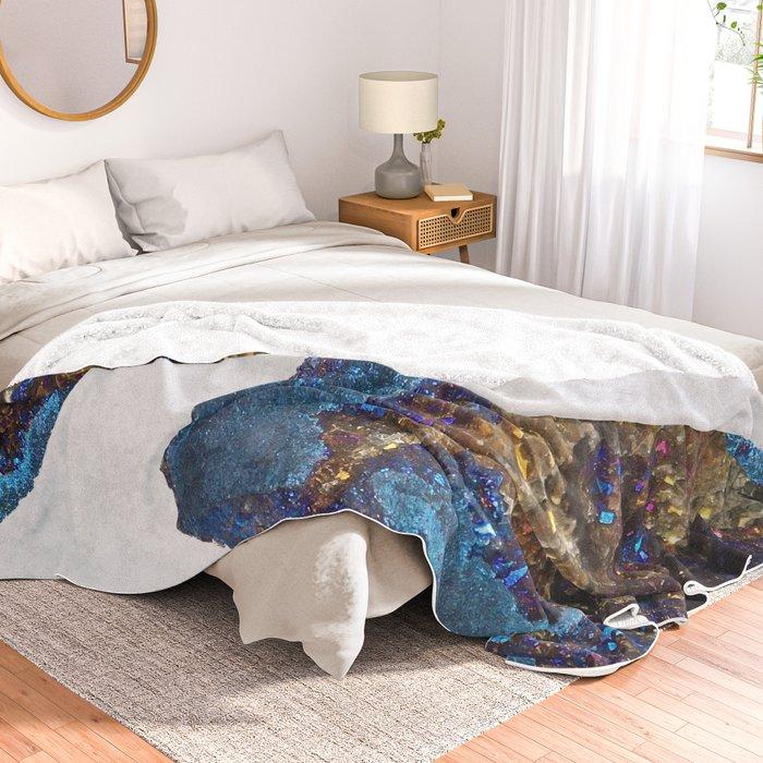 Agate metallic blue & gold Throw Blanket