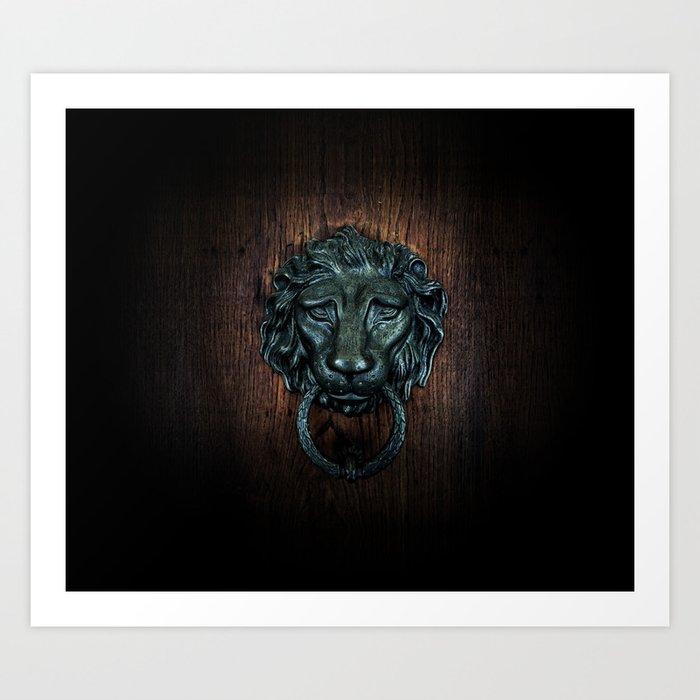 Vintage bronze lion door knocker Art Print