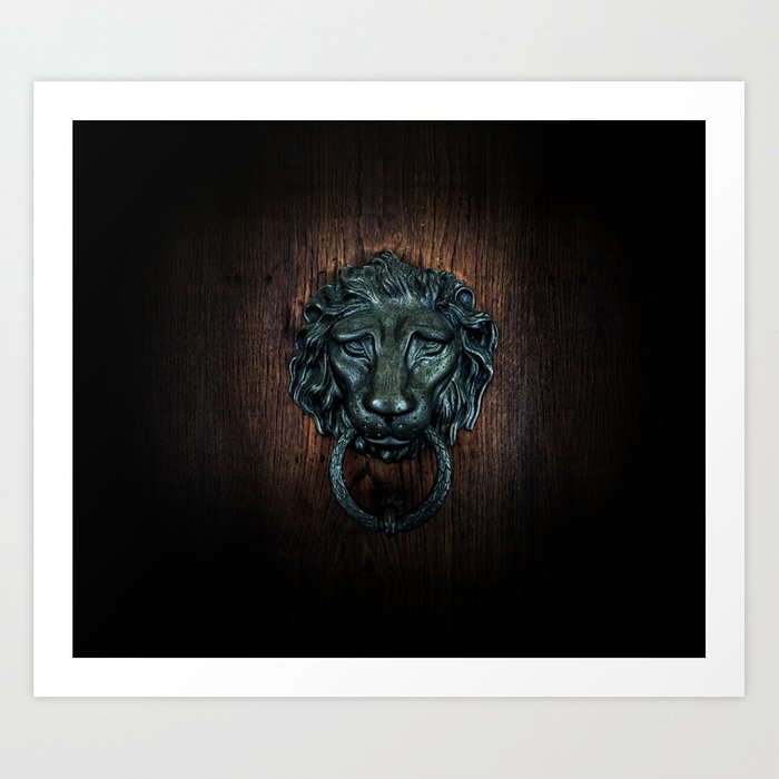 Vintage bronze lion door knocker Art Print