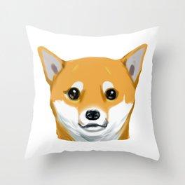 a shiba inu dog headshot Throw Pillow