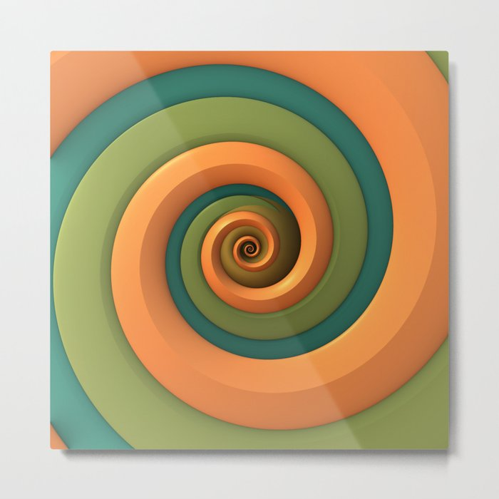 Tri-Color Swirl Metal Print