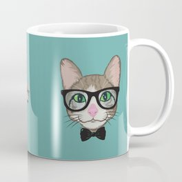 Colorful Cat Hipster with Bow Tie Coffee Mug