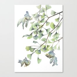 Mint Green Ginkgo Leaves and Green Goldfish Watercolor Design Canvas Print