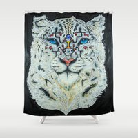 snow leopard Shower Curtains featuring snow leopard  by TourmalineTodd